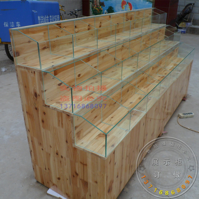 Custom Candy Showcase Supermarket Shelves Wooden Solid Wood Fruit Display Container Snacks Dried Fruit Display Cabinet