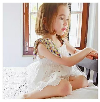 Korean children's clothing summer 2015 new Korean version of the small fresh fresh floral lace child camisole