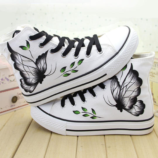 Hand-painted shoes high canvas shoes women's shoes 2019 spring casual shoes students flat bottom shoes Korean sports shoes women