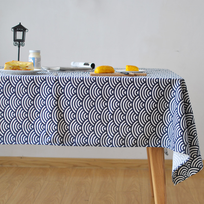 Wonderful Japanese Waves Dark Blue Vintage Table Cloth Traditional Japanese Pattern  Fabric Cotton And Linen Literary Tablecloth