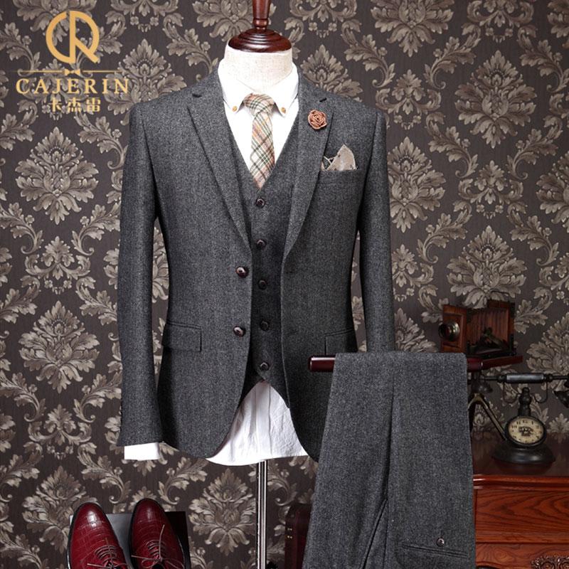 冠友西服套装男士新郎结婚礼服修身韩版潮小西装正装三件套秋冬款