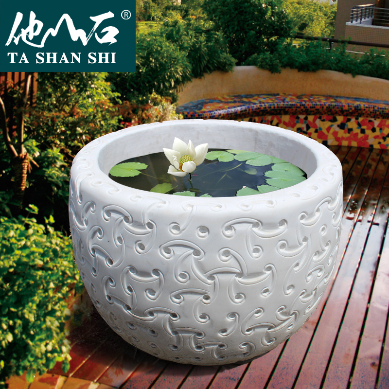 ChinaHao.com & He mountain stone flagship store antique fish tank water marble stone carving fish tank stone flower pot interior courtyard decoration