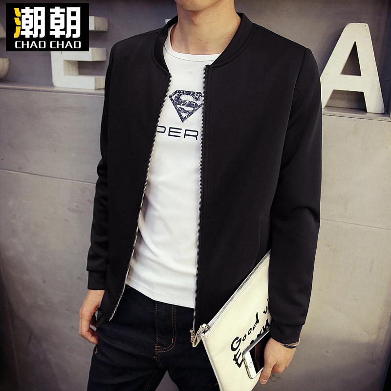 泰芝郎春秋季加厚男装韩版修身短款立领纯色大码休闲夹克薄款外套