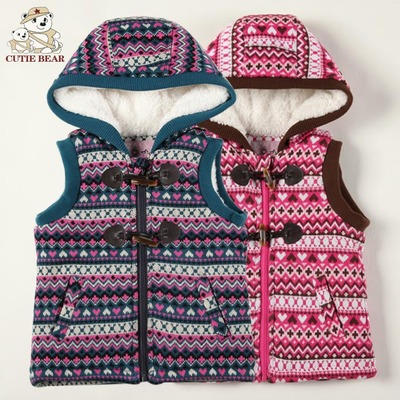Little ice bear authentic girls winter thick cotton vest England princess children hooded vest baby jacket