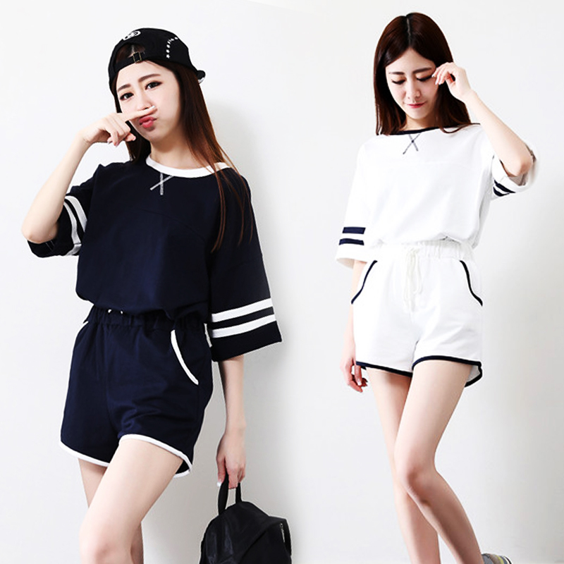 2015夏季新款韩版条纹短半截袖t体恤衫短裤两件休闲套装运动服女
