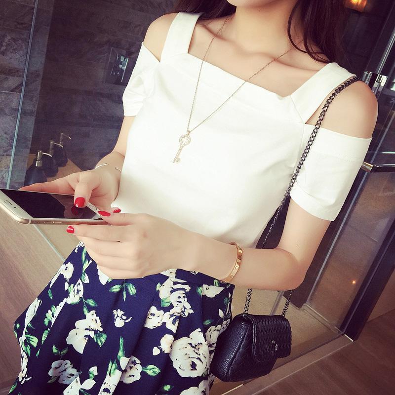 2015夏装新款露肩修身大码百搭韩版短袖方领T恤上衣女装包邮特价