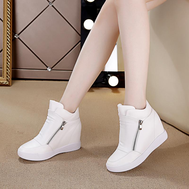 春季高帮鞋女2018新款内增高百搭韩版休闲鞋运动鞋女鞋潮白色单鞋