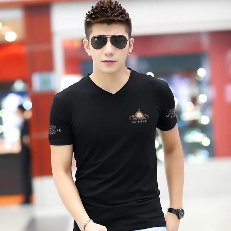 男士短袖t恤2019新款夏装男装韩版修身纯棉汗衫印花V领大码半袖潮