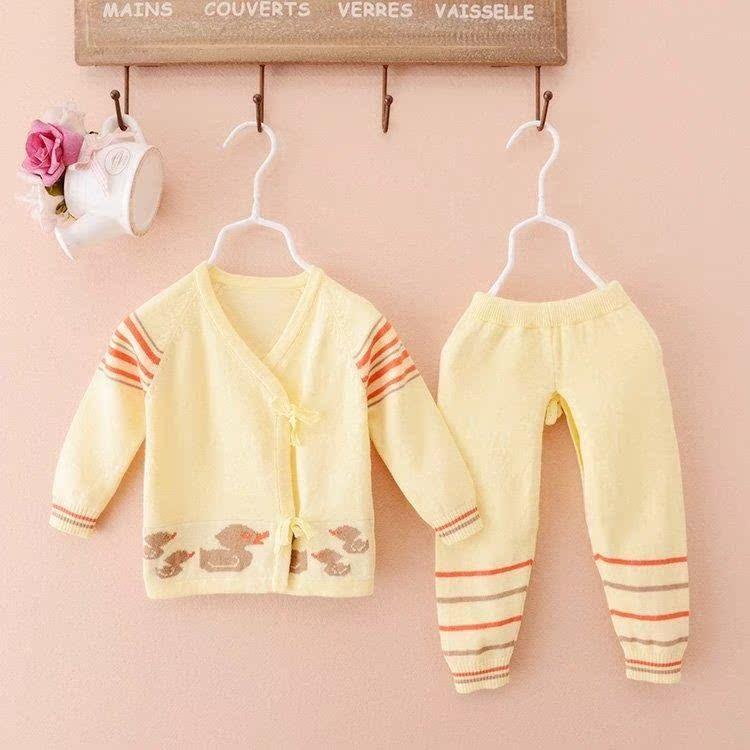 手工编织婴儿粉色纯棉毛衣宝宝全棉线衫儿童春秋开衫