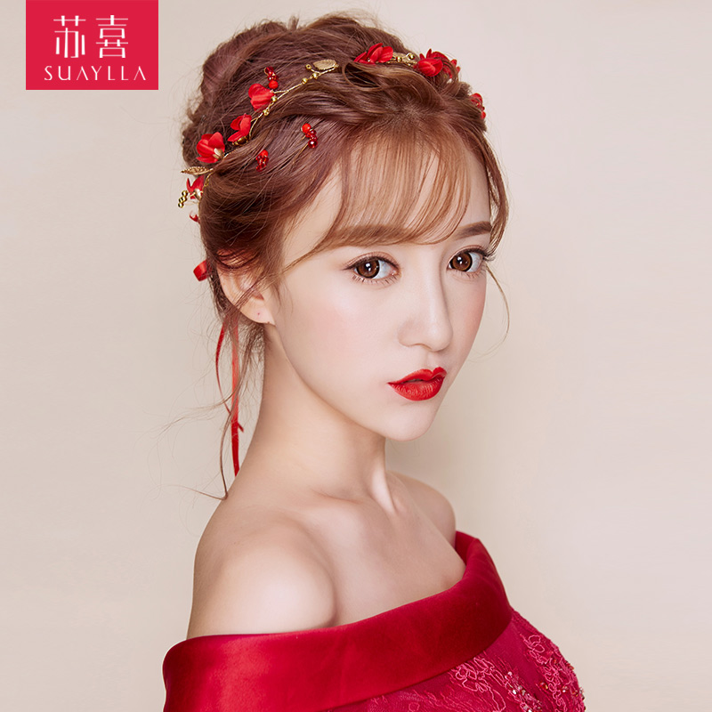 2018 New Korean Bride Headdress Hair Band Short Dress Red Sen Department Of The United