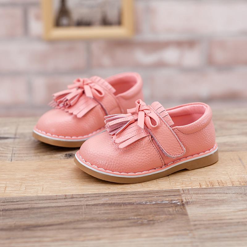 熊逗逗童装定制女童韩版公主鞋红色真皮牛筋底软面童鞋单鞋