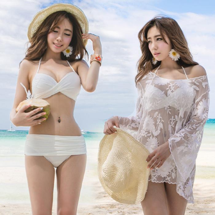 That Three women in bikini swimwear