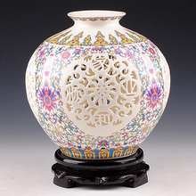 Jingdezhen Porcelain Vase ornament, living room flower arrangement, pastel, thin tire, hollowed out flower ware, porcelain, modern home decoration