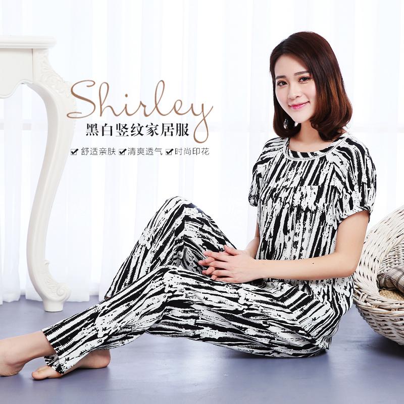 Mei Gaoer bông lụa đồ ngủ phù hợp với nữ mùa hè sọc trung niên mặc để gửi mẹ bông lụa đồ ngủ ngắn tay quần