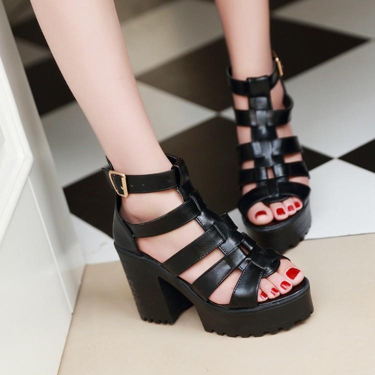 2015夏季新款女鞋粗跟松糕罗马鞋厚底鱼嘴高跟鞋凉鞋鞋防水台欧美