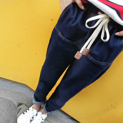 2017 spring new Korean women's jeans loose casual multi-pocket washed high waist harem pants