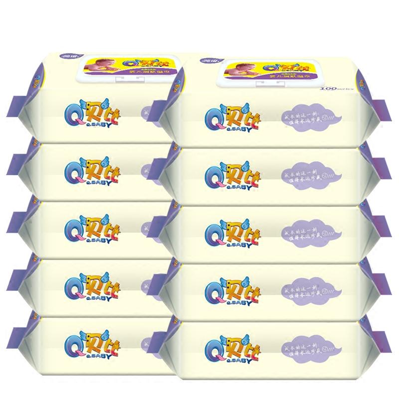 手口专用婴儿100湿巾抽取式10包新生儿童湿纸巾带盖湿巾纸批发_领取3元淘宝优惠券