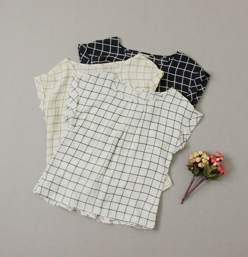 日单 荷叶袖配色透视格子衬衫A字雪纺衫