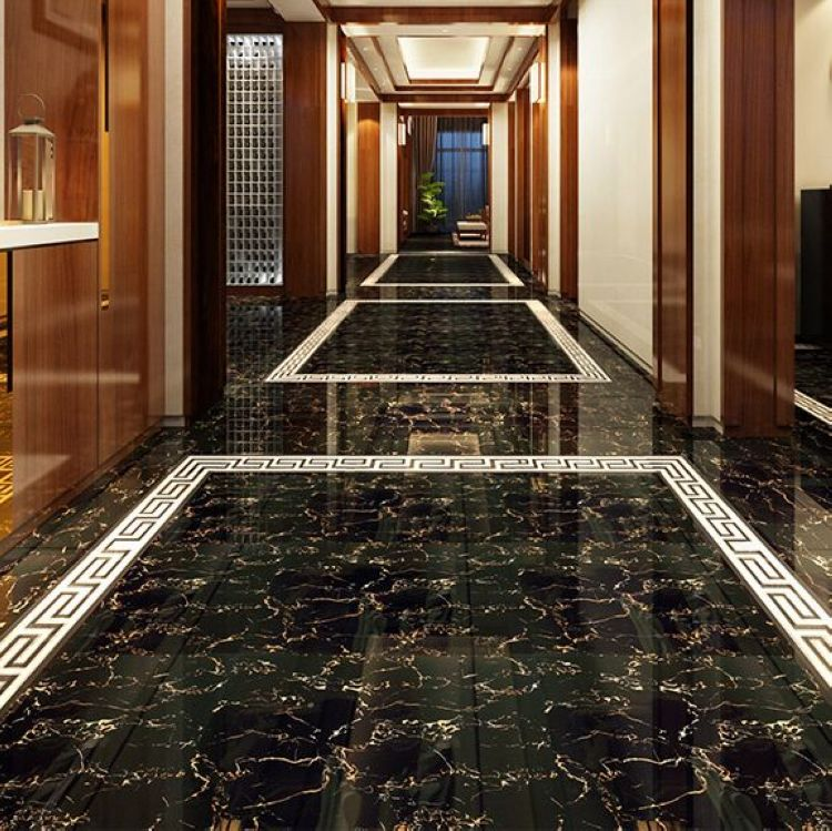 Clic 800 Black Gold Flower Full Cast Glazed Tiles Wall Living Room Floor Threshold Stone