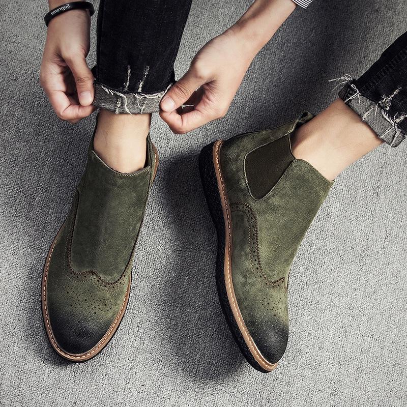 Приток мужчин ботинок весна помощь скраб мартин сапоги мужчина волна дикий корейская волна струиться ботинки натуральная кожа наконечник челси ботинок