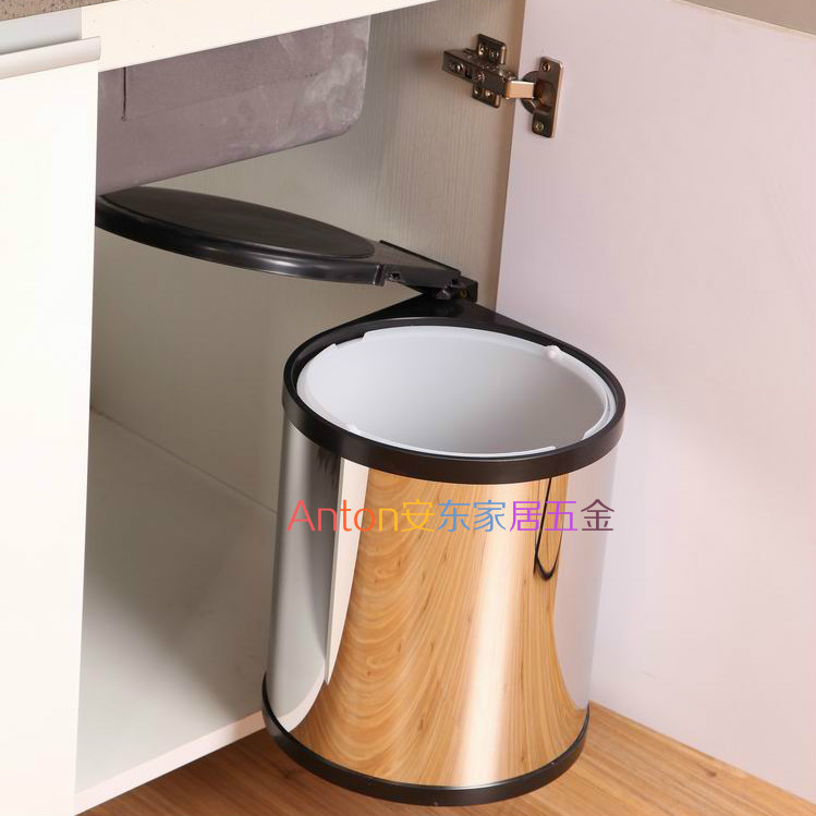 Cabinet Kitchen Rotating Spin Open Trash Door Automatically 14l