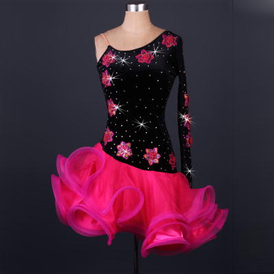 diamond-inlaid Latin dance competition dress imported velvet Latin dance dress for adult performance