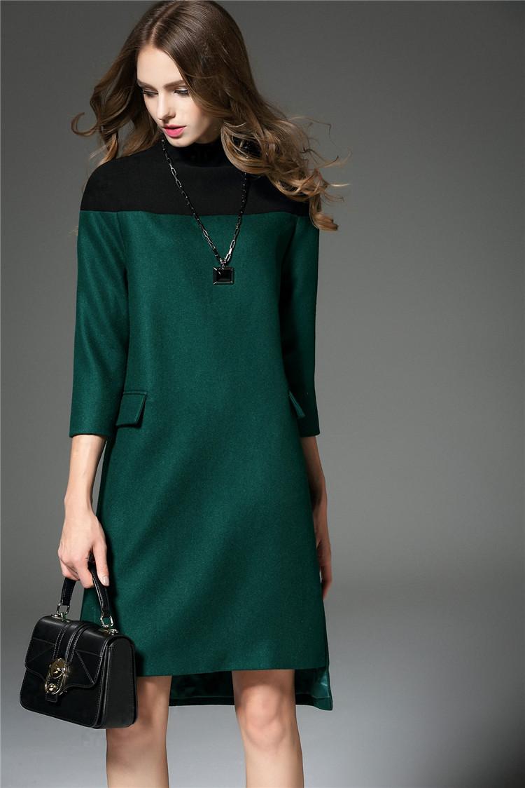 潮时尚冬装女装短A字型英伦风格连衣裙蕾丝网纱立领花边针织毛裙