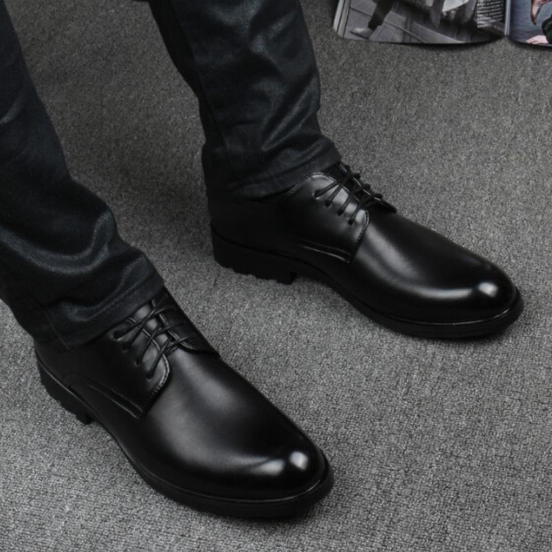 宽胖脚肥男v皮鞋皮鞋夏季防水大头皮鞋男圆头男鞋真皮商务百搭软底