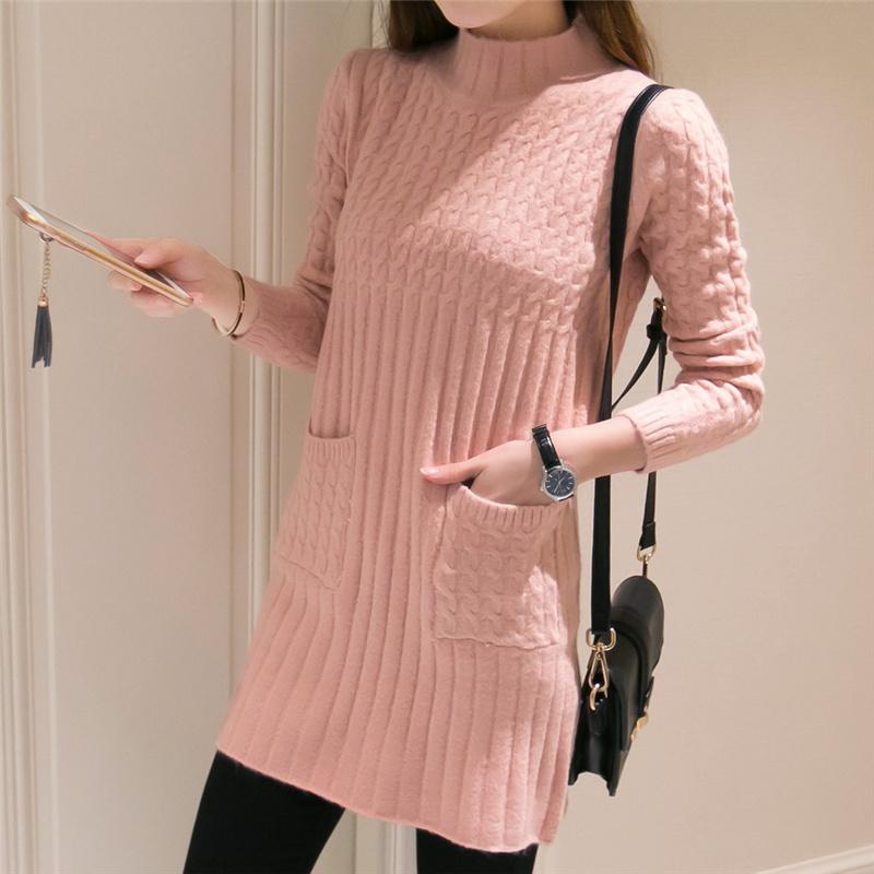 梦秀莱登冬款长袖毛衣加厚高领保暖中长款打底衫女式韩版修身外套