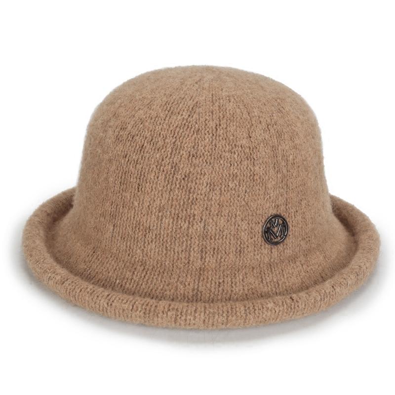 女士帽子韩版百搭秋冬盆帽渔夫帽复古英伦小礼帽圆顶羊毛呢针织帽