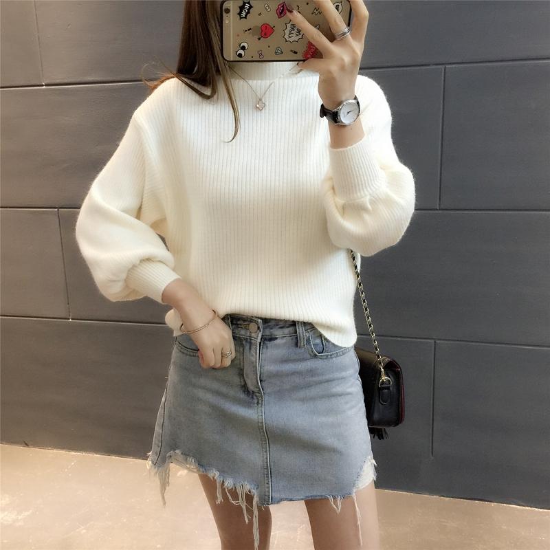 2016冬季韩版修身显瘦圆领喇叭袖纯色针织衫百搭打底衫毛衣女套头