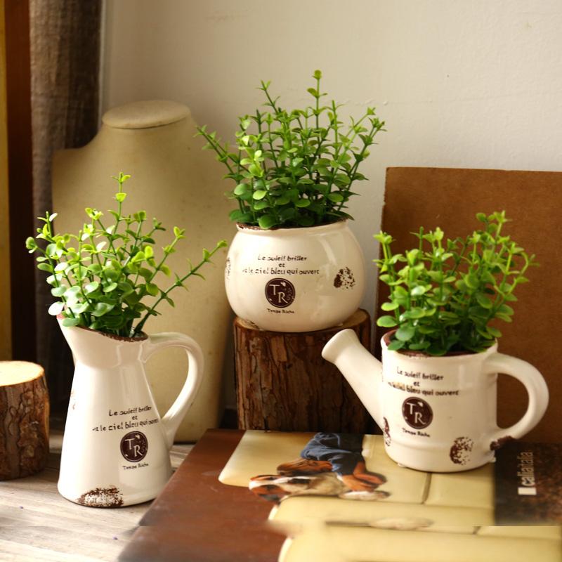 美式乡村创意仿真花盆栽小摆件家居装饰品室内摆设卧室桌面办公室