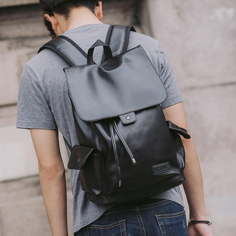 ede6afd0ebbd Casual shoulder bag men Korean trend leather backpack men fashion student  bag travel bag computer men bag bucket