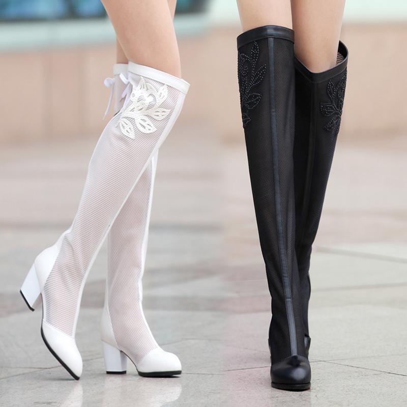 欧洲站夏季长靴 厚底旗舰店磨砂靴过膝靴天猫女鞋女靴子日泰靴