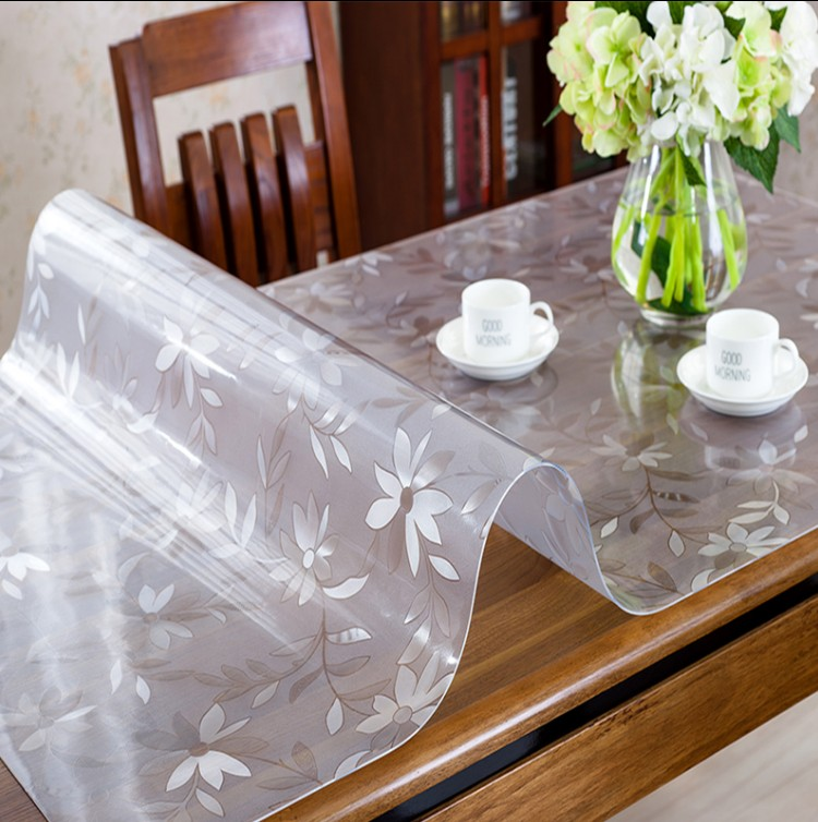Pvc Dining Table Cloth Soft Gl Waterproof Anti Hot Mat Transpa Frosted Tablecloth Plastic Coffee Desk