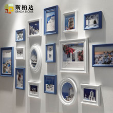 Mediterranean photo wall solid wood photo frame wall combination sofa background American creative picture frame restaurant photo wall decoration