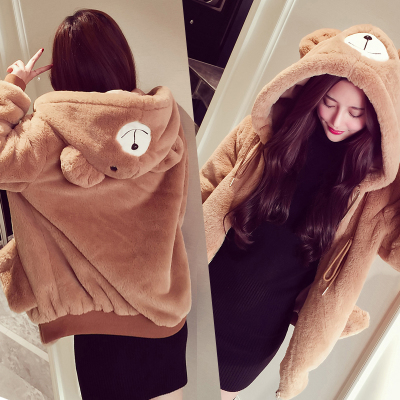 Mushroom Street Women's tide 2017 autumn and winter with new cute fun aged warm plush hooded jacket students girlfriends