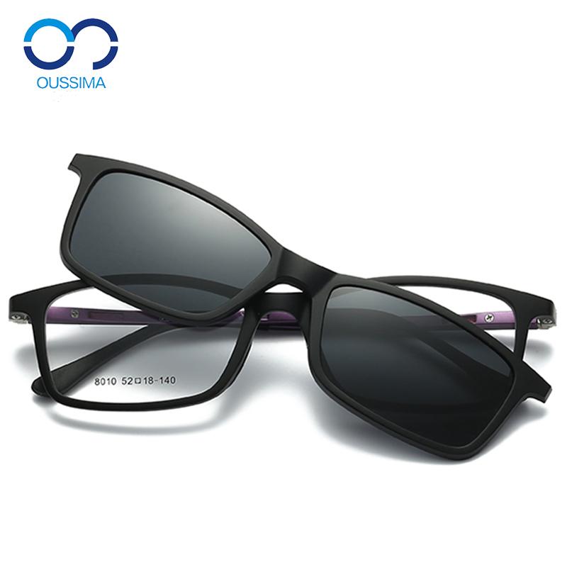 Ngày và đêm dual-sử dụng gương cận thị kính mát nam giới và phụ nữ kính mát phân cực từ với khung clip điều khiển gương 8010