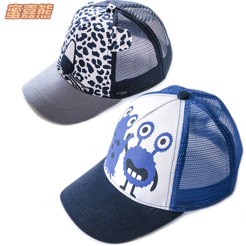 92cc95cfd Children's hat spring and summer Europe and the United States small leopard  boy baseball cap girls mesh sun hat baby duck tongue sun hat