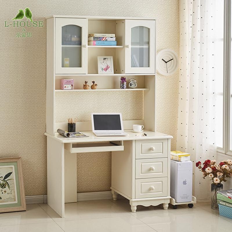 包邮 韩式田园电脑桌烤漆转角  欧式带书架组合台式家用实木书桌