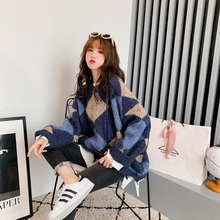 Slouchy sweater women's winter loose Korean thickened Pullover 2018 new net red knitwear fashion diamond grid trend