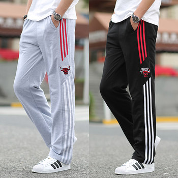 Spring sports pants men's casual pants thick section of young men's trousers loose straight pants big yards knitted jogging pants Guardian