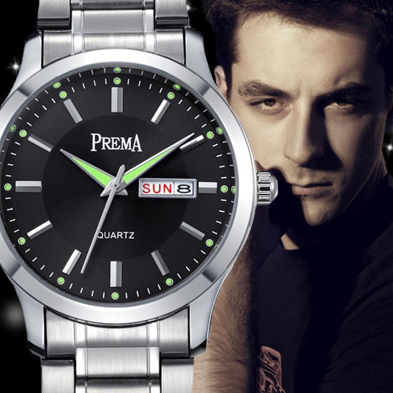 夜光星期真皮男表钢带手表带手表男防水石英表时尚潮流男士日历