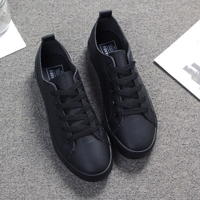 a02f0f2d8c1 All black spring Korean leather casual shoes student female white ...