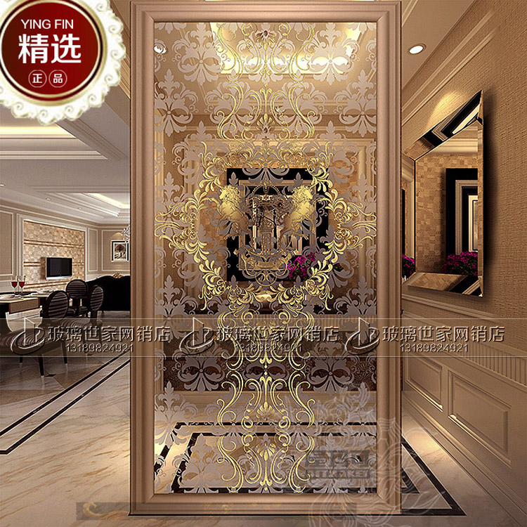 European Art Glass Screen Partition Double Sided Living Room Partition Xuan  Guan Restaurant Background Jane OU Carved Glass Part 57