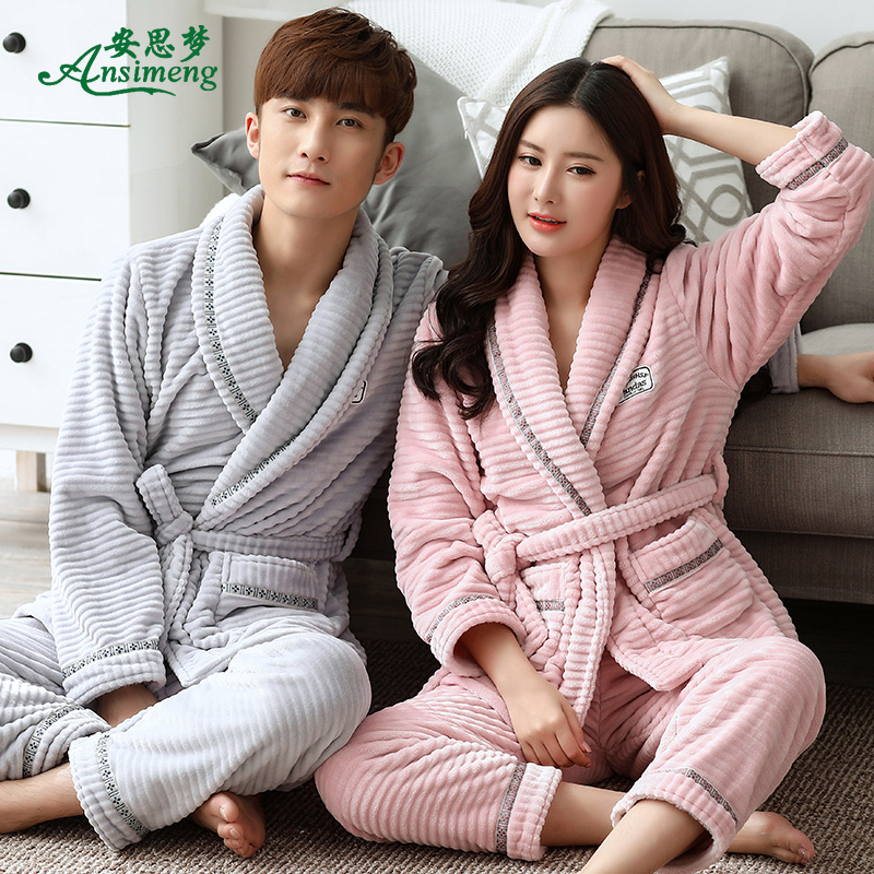 2f2fb5cfc504 Autumn and winter coral velvet couple nightgown female pajamas large size  men s winter bathrobe flannel home service two-piece suit