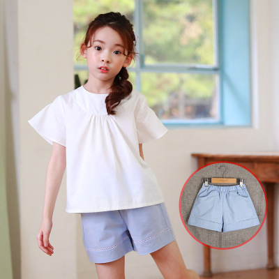 Summer new children's clothing Korean girls cotton wide leg shorts in the children's casual pants mother and child shorts