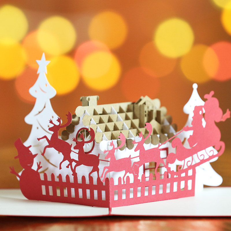 USD 5.65] New Year Christmas Christmas tree Christmas card 3D three ...