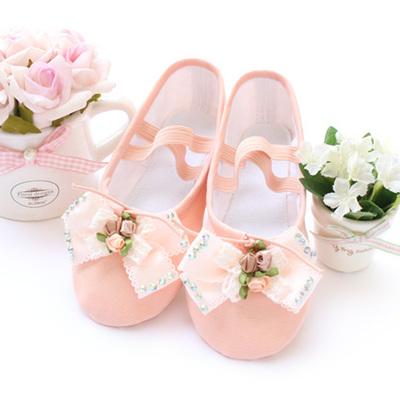 children dance shoes, canvas shoes, gym shoes, Korean bow, soft bottom ballet shoes