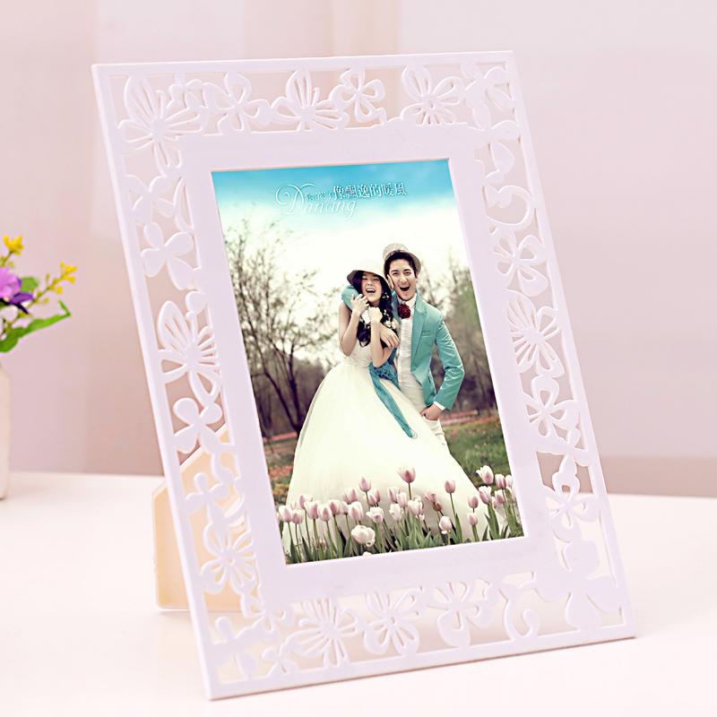 创意相框7寸10寸摆台韩版个性相架白色塑料相框雕花相框影楼相框
